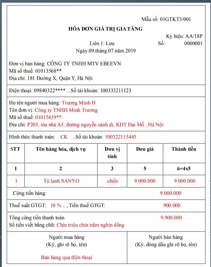 Hướng dẫn ghi hóa đơn bán hàng qua điện thoại